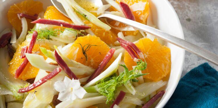 Salade de fenouil et d'orange, magret fumé et vinaigrette au thé infusé