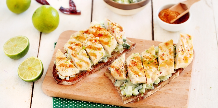 Tartines aux escalopes gourmandes et tzatziki