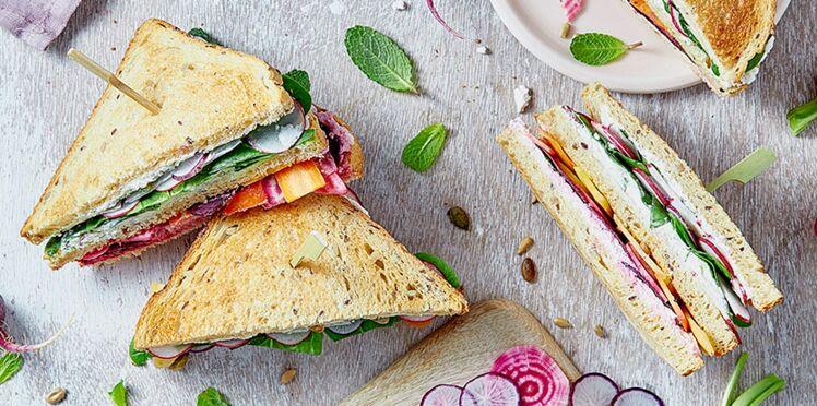 Veggie club sandwich radis et betterave