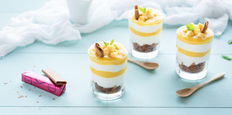 Dessert tropical mangue-coco crêpes dentelle