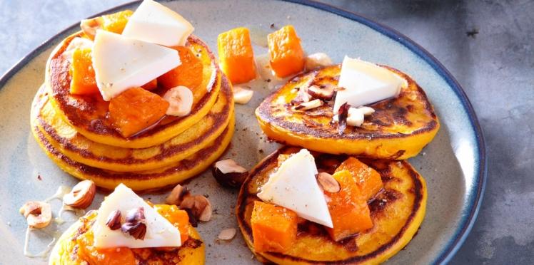 Petits pancakes à la courge butternut rôtie et au charolais AOP