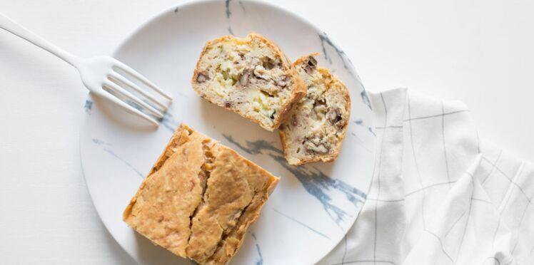 Cake sans gluten  aux haricots tarbais, fourme d'Ambert, cumin et noix