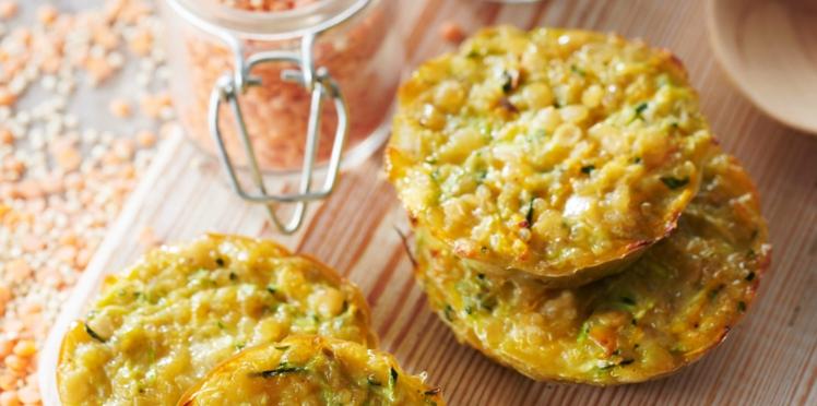 Petites galettes de lentilles, quinoa et légumes