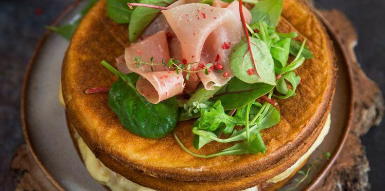 Naked Cake à la raclette et au jambon cru