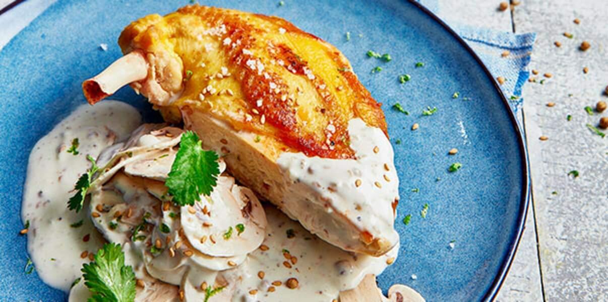 Blanc de poulet aux champignons de Paris à la crème de Chavroux