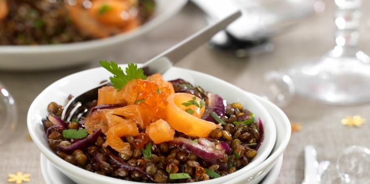 Salade express de lentilles au saumon fumé