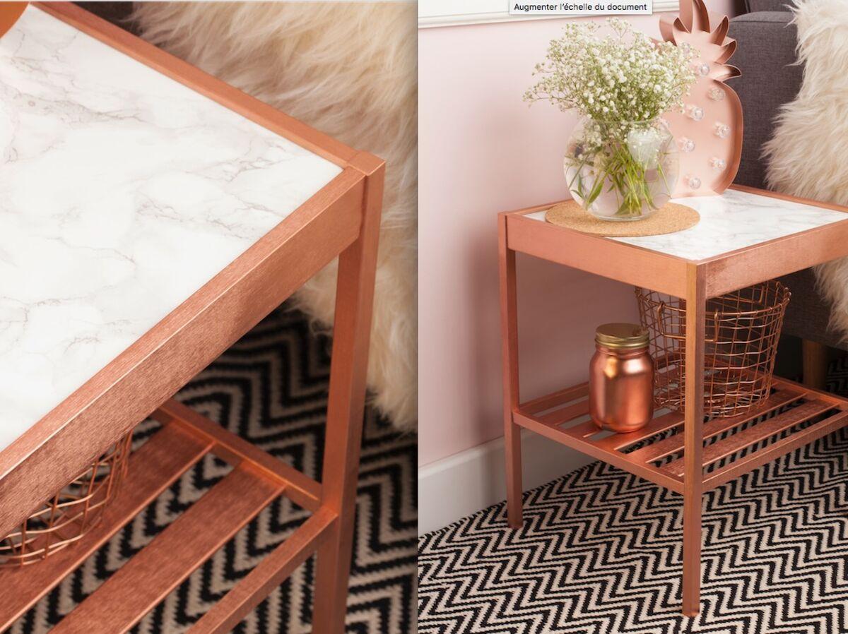 Rondin De Bois Table De Chevet relooking : comment peindre une table de chevet effet cuivré