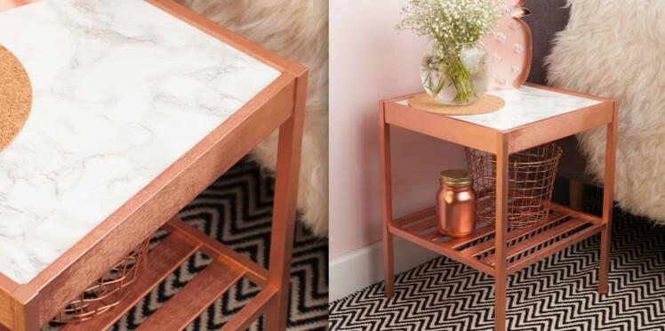 Relooking : comment peindre une table de chevet effet cuivré