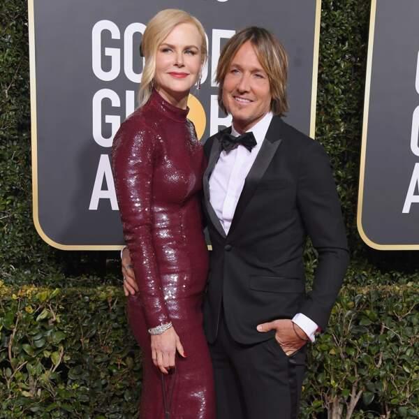Nicole Kidman et Keith Urban à la cérémonie des Golden Globes le 6 janvier 2019.