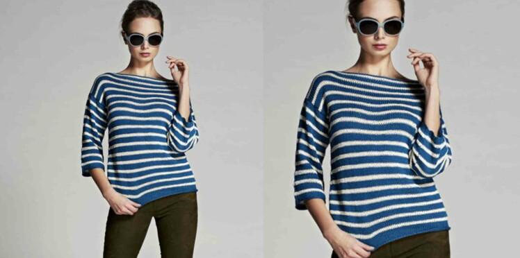 Tricot gratuit : le pull en jersey rayé
