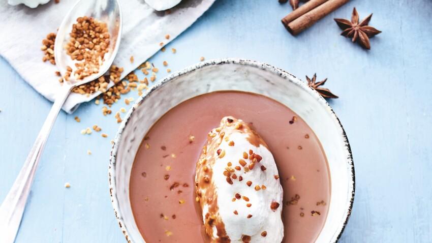 Recette Weight Watchers : île flottante chocolat-pralin