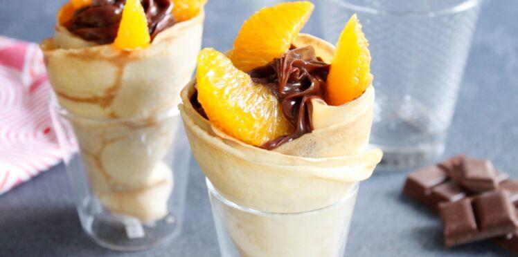 Cornet de crêpes pâte à tartiner caramel et oranges