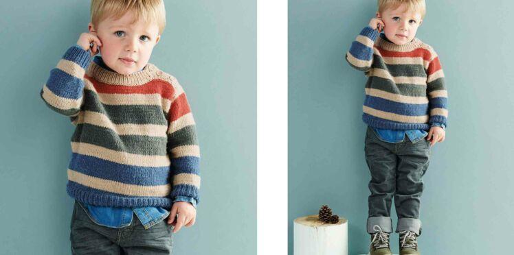 Tricot gratuit : Le pull à rayures enfant