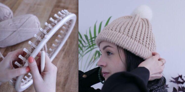 Facile et rapide, un bonnet au tricotin géant