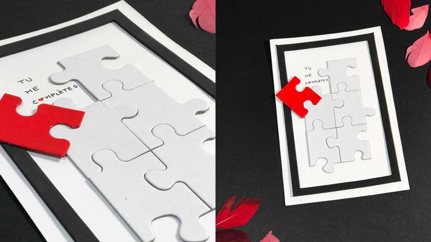 Une carte puzzle facile et pas chère pour la Saint-Valentin