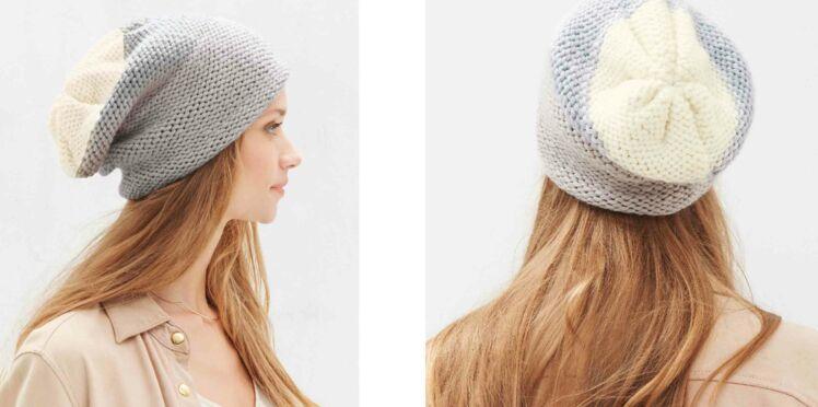 Tricot gratuit : le bonnet loose 3 couleurs
