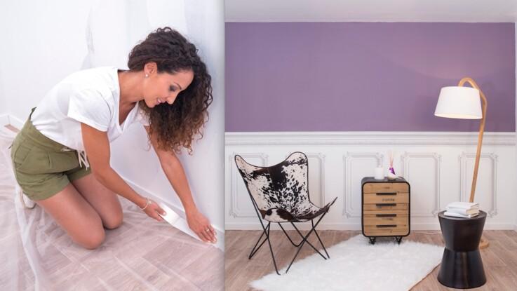Emmanuelle Rivassoux remet à neuf un mur abimé avec de la peinture et du papier-peint