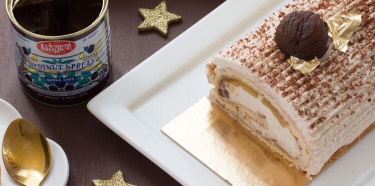 Bûche de Noël à la crème de marrons et aux pommes caramélisées