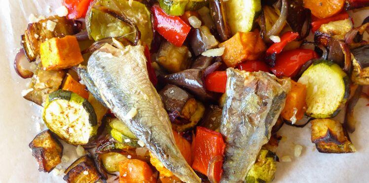 Sardines en salade de légumes, citron confit et coriandre à l'huile d'olive