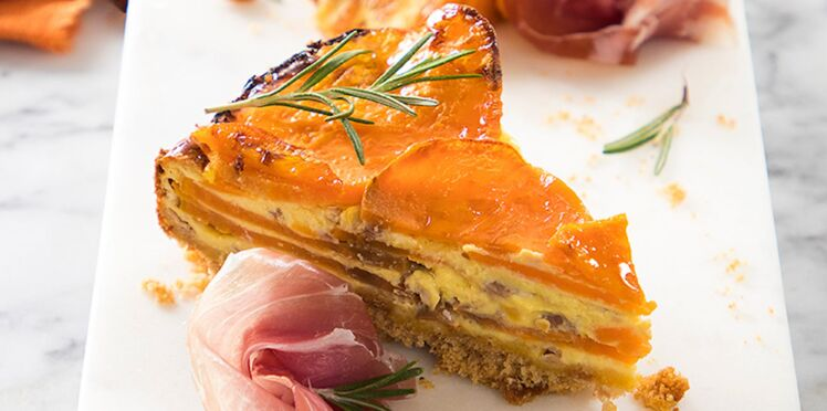Tarte aux patates douces, robiola et jambon de Parme