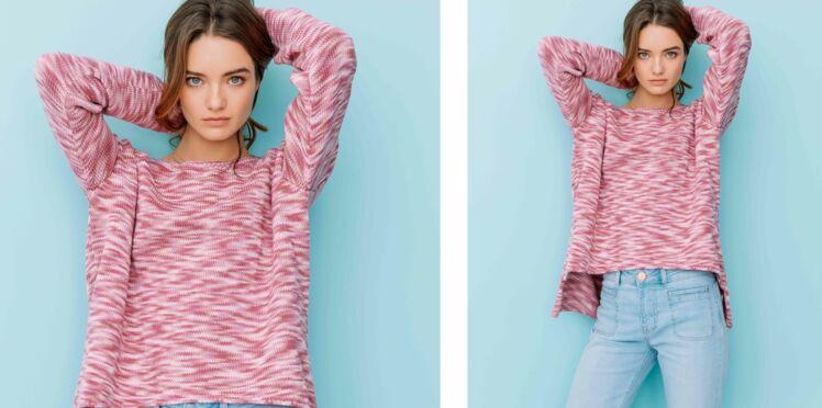 Tricot gratuit : le pull chiné fantaisie