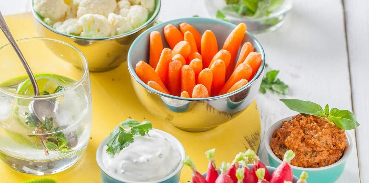 Légumes apéritif et duo de tartinade