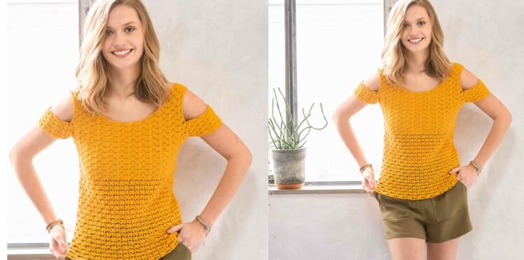 Crochet gratuit : Le top épaules ajourées