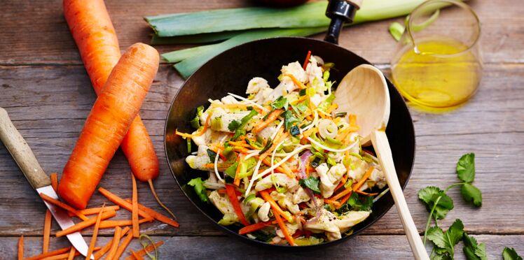Wok de poulet sauté au soja, poireaux et carottes de Normandie