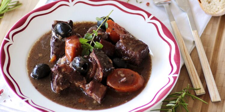 Bœuf bourguignon aux olives d'Espagne Hojiblanca
