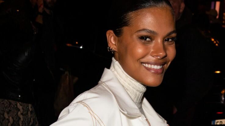Tina Kunakey, très enceinte, fait sensation à la Fashion Week