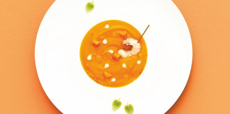 Velouté de carottes aux crustacés
