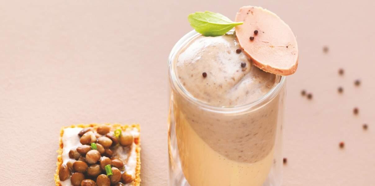 Crème de lentilles sur panna cotta foie gras