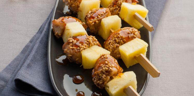 Mini-brochettes de lapin à l'ananas
