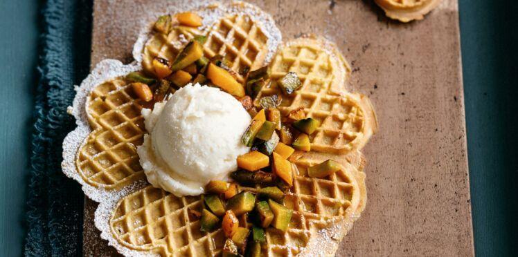 Gaufres cœurs, potimarron vanillé et glace aux calissons