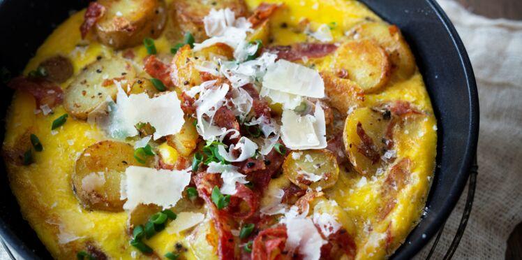 Tortillas pommes de terre, gruyère, jambon cru et ciboulette