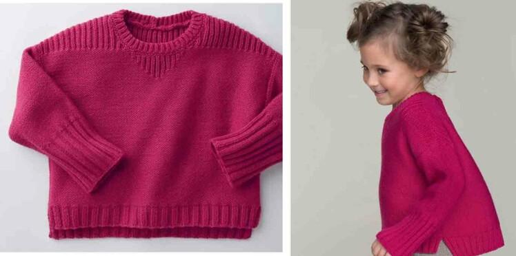 Tricot gratuit : le pull en jersey et côtes