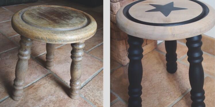 comment relooker un tabouret en bois femme actuelle le mag. Black Bedroom Furniture Sets. Home Design Ideas