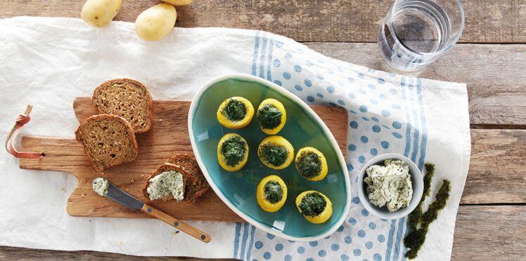 Mini farcis de pommes de terre primeurs de Noirmoutiers aux escargots bio et beurre d'algues