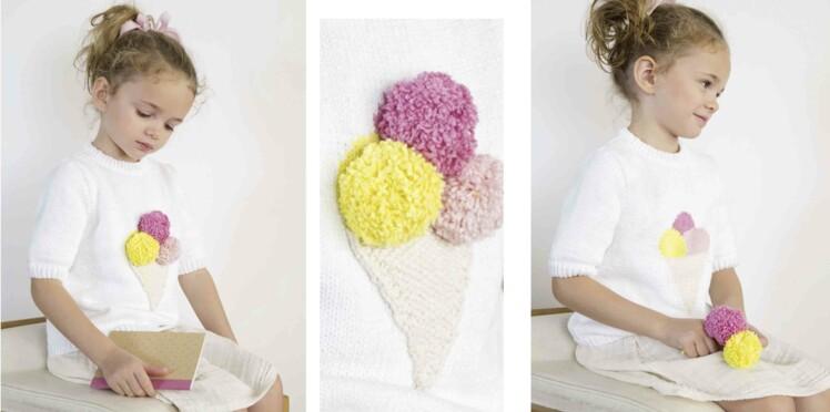 Tricot gratuit : le pull cornet de glace