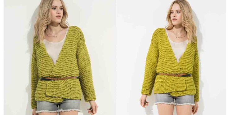 Tricot gratuit : la veste au point mousse