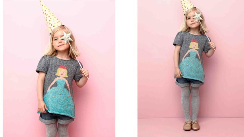 Tricot gratuit : la tunique motif princesse