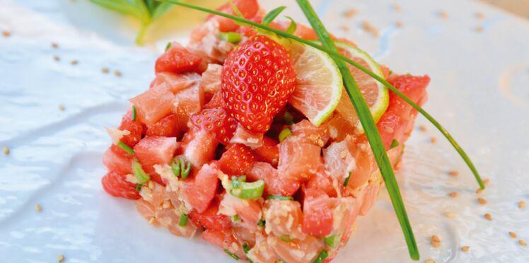 Tartare de saumon au fraises de France