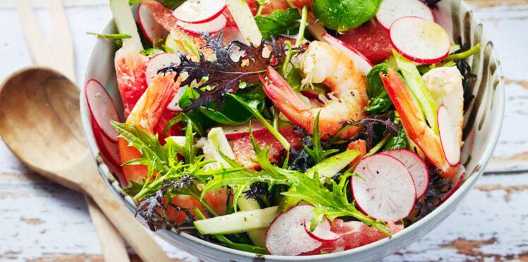 Salade de crevettes aux radis, pamplemousse, pomme et jeunes pousses