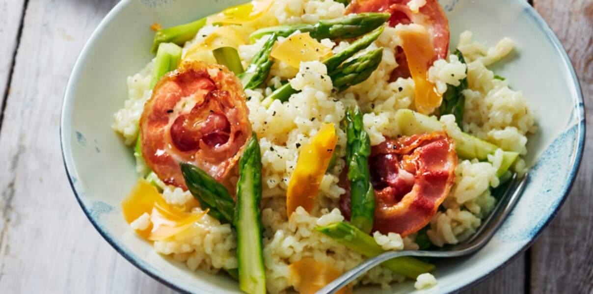 Risotto aux asperges, mimolette et pancetta