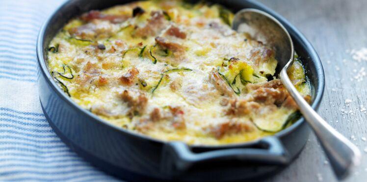 Clafoutis de thon, courgettes et chèvre frais à l'origan