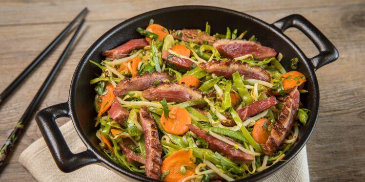 Magret en wok et ses légumes croquants