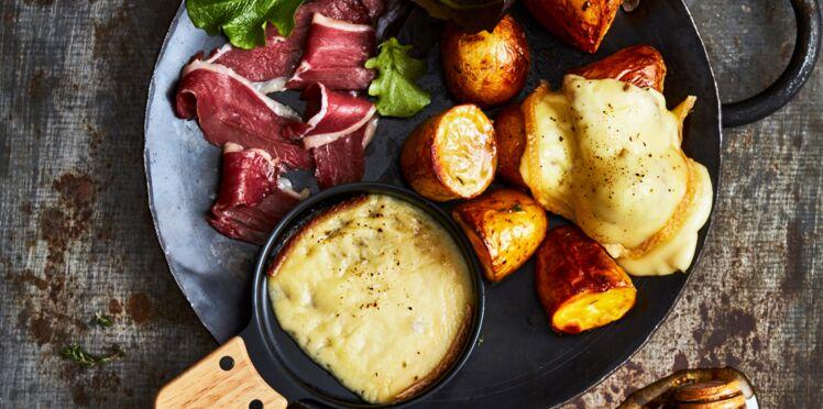 Raclette revisitée, pommes de terre rôties au miel et magretfumé