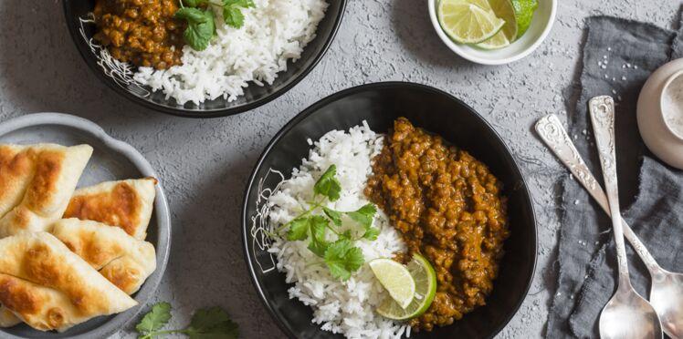 Curry de lentilles et riz basmati