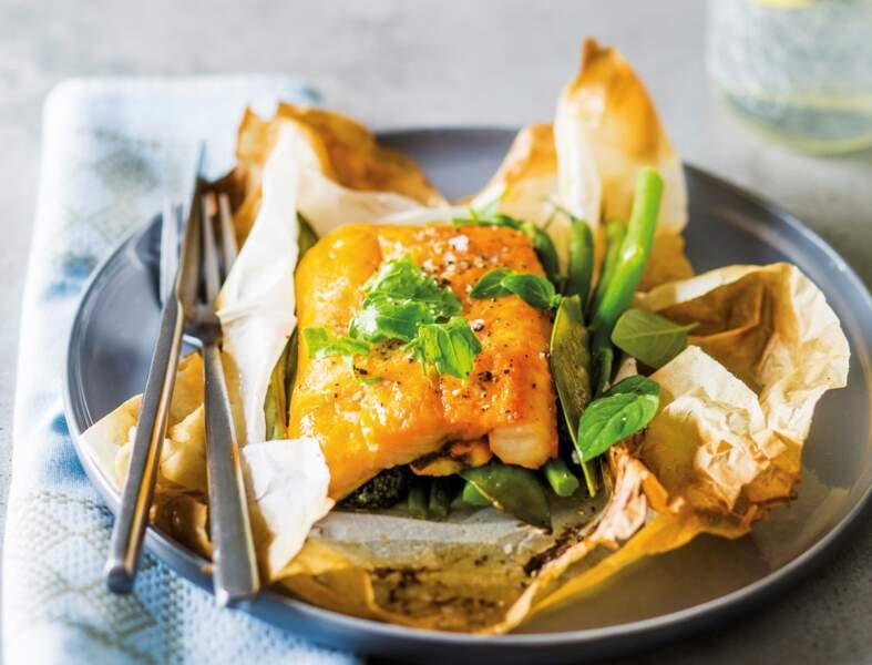 Papillotes de haddock aux légumes de printemps