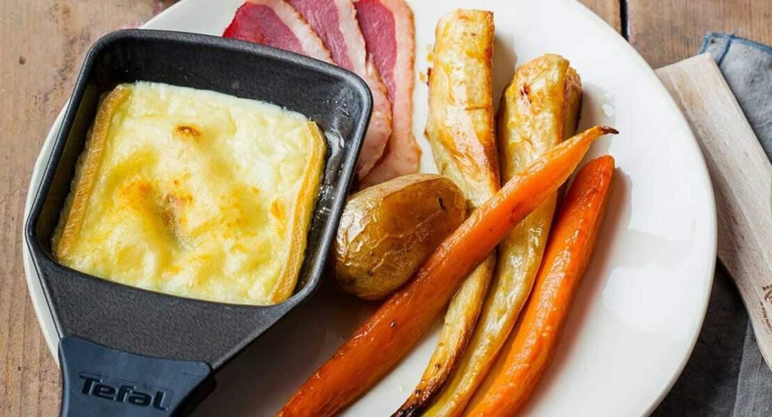 Raclette gourmande aux légumes rôtis au miel et magret de canard